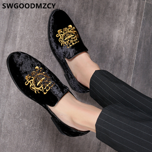 Image 1 - 정장 구두 남성 클래식 이탈리아 브랜드 남성 파티 신발 Coiffeur 자수 남성 정장 구두 로퍼 Sepatu Slip On Pria 48 Bona