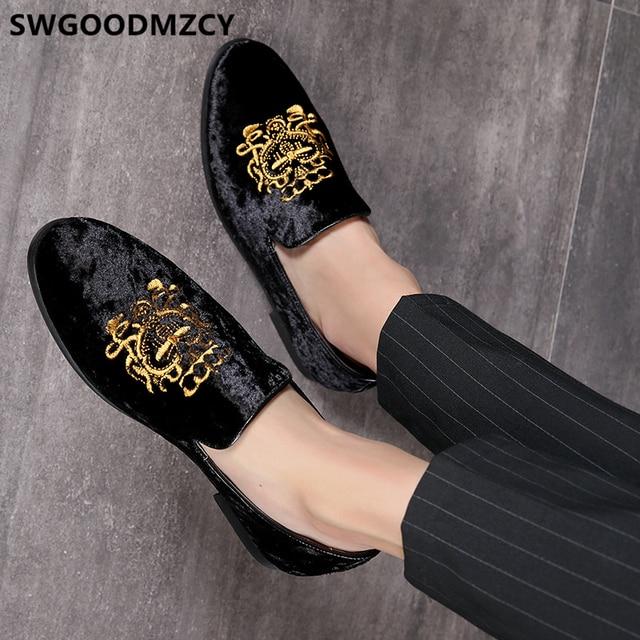 정장 구두 남성 클래식 이탈리아 브랜드 남성 파티 신발 Coiffeur 자수 남성 정장 구두 로퍼 Sepatu Slip On Pria 48 Bona