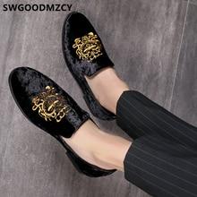 Formalne buty mężczyźni klasyczna włoska marka mężczyźni Party buty Coiffeur hafty męskie buty sukienka mokasyny Sepatu Slip On Pria 48 Bona