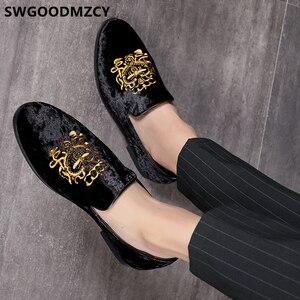 Image 1 - Resmi ayakkabı erkekler klasik İtalyan marka erkek parti ayakkabıları kuaför nakış Mens elbise ayakkabı mokasen Sepatu üzerinde kayma Pria 48 Bona