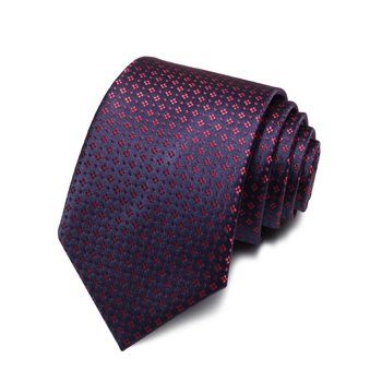 2020 Brand New Fashion High Quality Men 7CM Red Flower Pattern Navy Blue Necktie Formal Suit Cool Neck Tie for Men with Gift Box