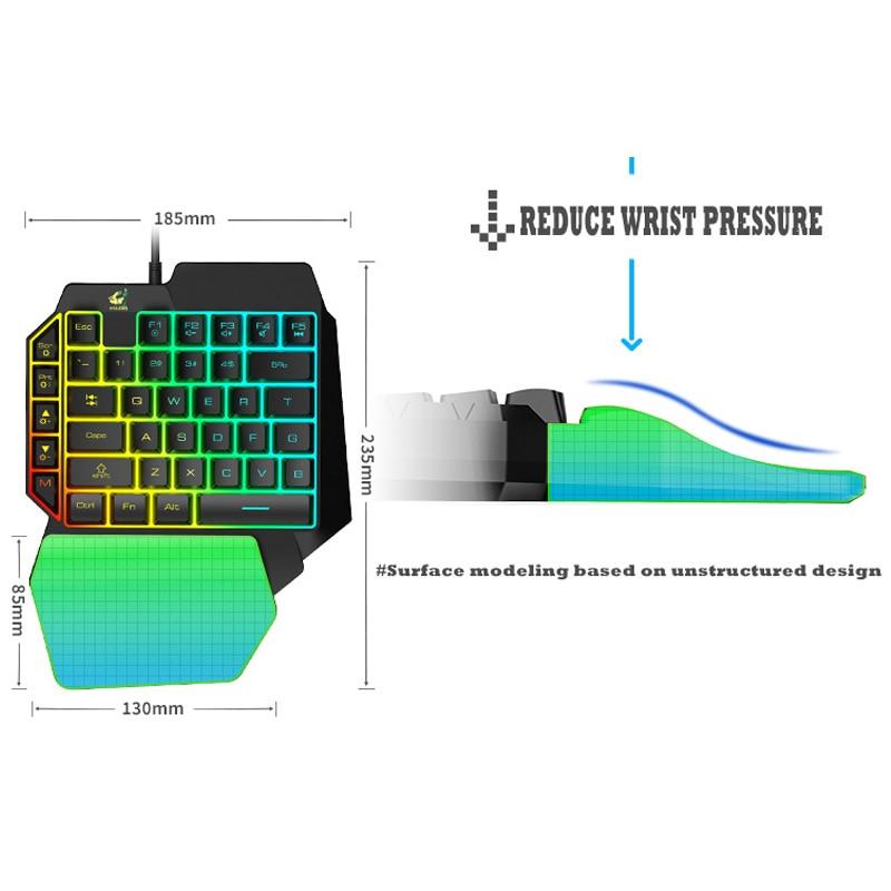 Купить с кэшбэком USB Wired Gaming Keypad Mini LED Backlight 39 Key Left Hand Single Hand Mechanical Gaming Keyboard for PUBG Mobile PC Laptop LOL
