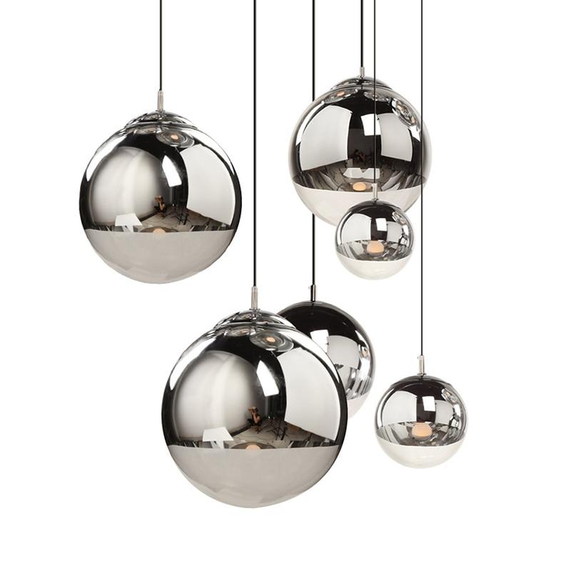 Modern Chandelier Simple Electroplated Spherical Golden Bubble Glass Chandelier Mirror Ball Chandelier Lustre Luminarias