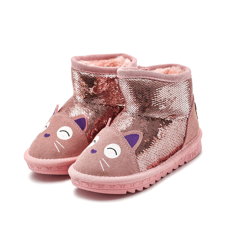Fashion Winter Baby Boys Girls Shoes Winter Infants Warm Shoes Faux Fur Girls Baby Booties Leather Boy Baby Boots First Walkers
