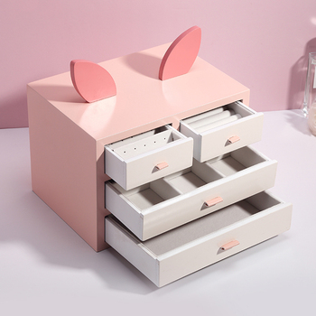 Casegrace Luxury Cartoon Large Wooden Jewelry Box Organizer Drawer Jewellery Case Gift Casket Earring Ring