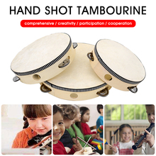 New 2Pcs Tambourine For Kids Adults Wood Handheld Drum Percussion Musical Instrument For Party Dancing Games Gift For Friends