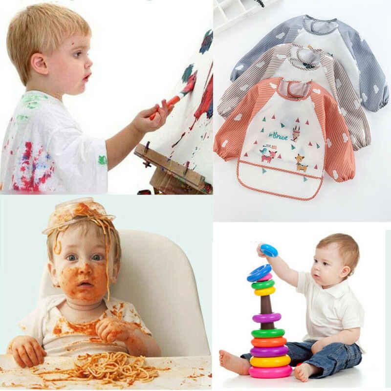 Criativo arte de alimentação à prova dwaterproof água avental bib smock meninos meninas bebê criança crianças manga longa aventais