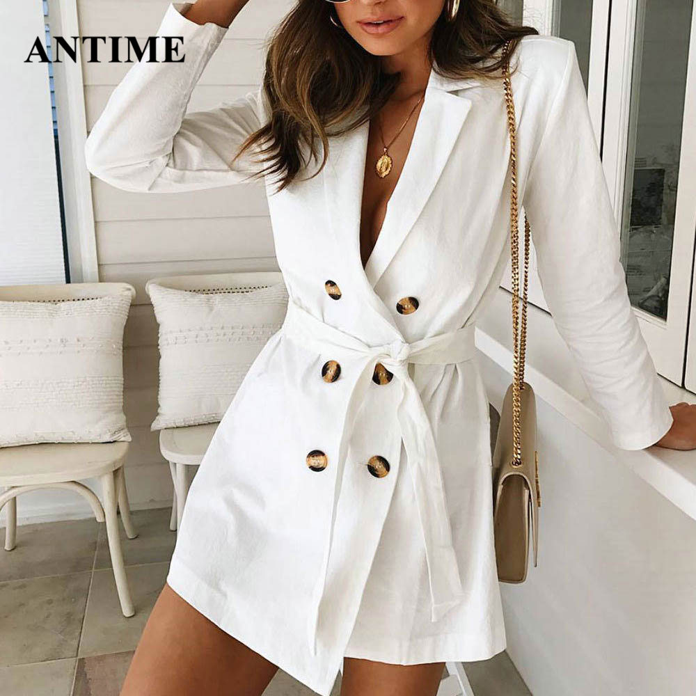 Antime White Women Blazer Double Breasted Notched Elegant Lace Up Belt Autumn Winter Plus Size Coat Jacket High Street