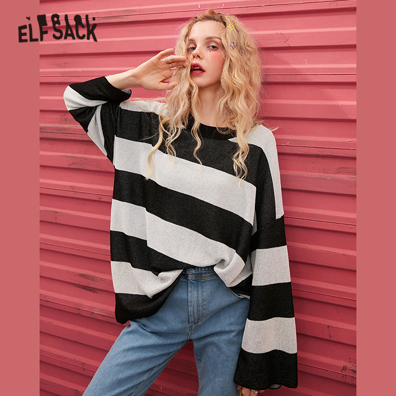 ELFSACK Apricot Striped Knit Loose Casual Pullover Sweater Women 2020 Spring Black Colorblock Korean Long Sleeve Girly Daily Top