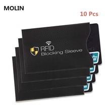 10 pces conjunto anti-roubo rfid cartão protetor para cartão de banco rfid bloqueio manga carteira identidade anti-roubo capa protetora