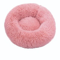 Pink-Round Cat Beds House Soft Long Plush Best Pet Dog Bed For Dogs Basket Pet