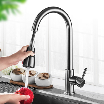 Kitchen Faucet 304 Stainless Steel Sink Pull-out Rotary Hot and Cold Mixed Faucet Sanitary Ware Factory Outlet pinuslongaeva ce emc lvd fcc factory outlet bo 3ayt 201 304 stainless steel shell aquaculture ozonizer to eliminate odors