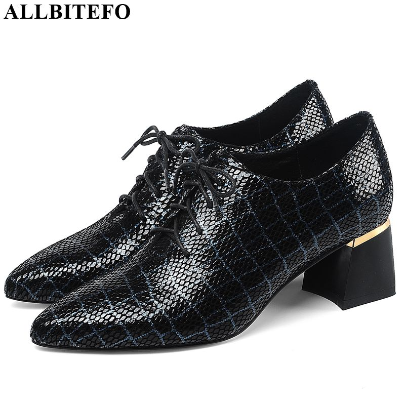 ALLBITEFO Natural Genuine Leather High Heel Shoes Pointed Toe Women Heels Spring Autumn High Heels Frenulum Office Ladies Shoes