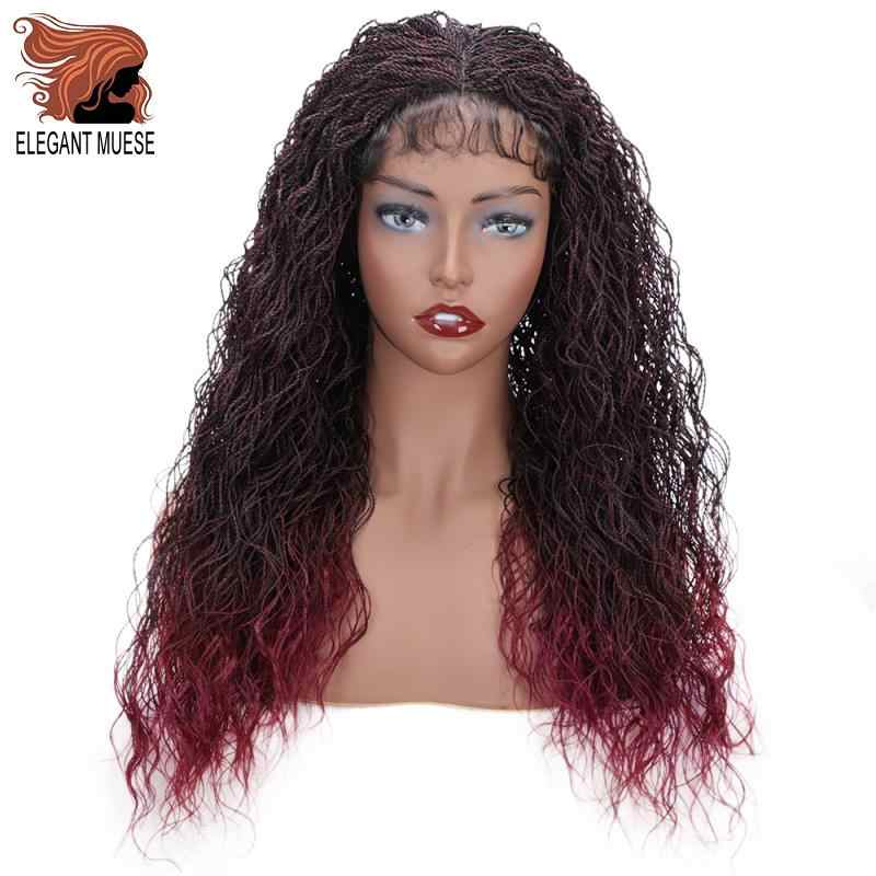 ELEGANT MUSES Synthetic Senegalese Twist Curly Braid Wig Lace Front Wig for Women Crochet Twist Braiding Hair Ombre Burgundy