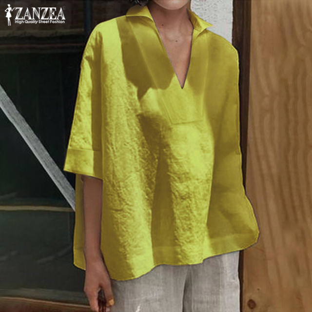 Women's Summer Blouse Tops 2019 ZANZEA Elegant 3/4 Sleeve Shirts Female Solid Blusa Kaftan V neck Casual Chemise Plus Size Tunic 2