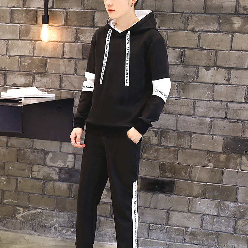 Men Autumn Casual Hooded Sports Set New Style Trend Coat Autumn Sports Hoodie Suit