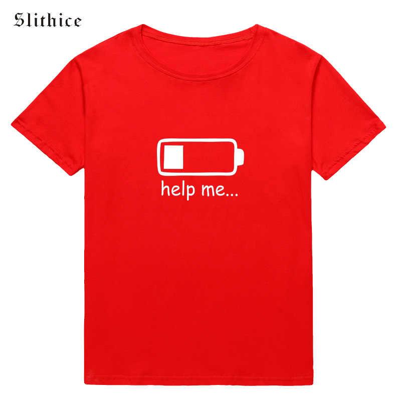 Slithice Help ME แฟชั่นเสื้อยืดผู้หญิงแขนสั้นฤดูร้อนสีขาวสีดำเสื้อแบตเตอรี่กราฟิกพิมพ์หญิง TShirt