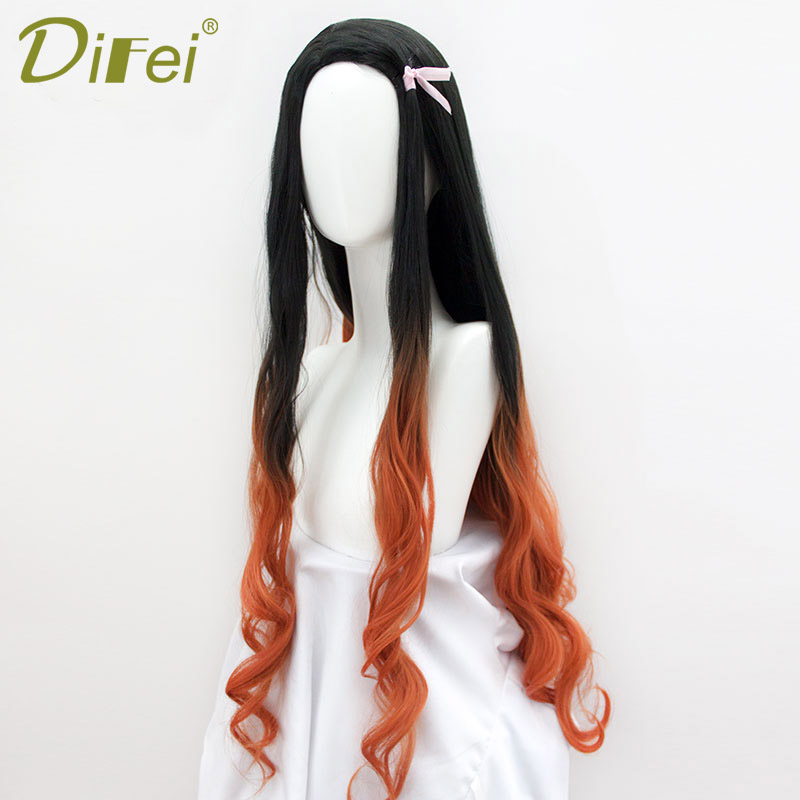 DIFEI 100cm  Long Wavy Wig Synthetic Hair Anime Cosplay Wig Black  Brown Ombre  Wigs For Black Women