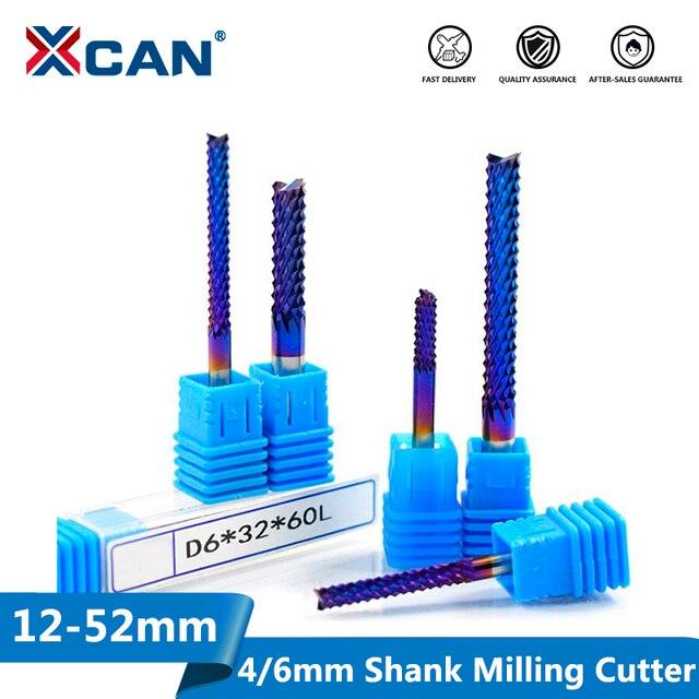XCAN 1pc 4 millimetri/6 millimetri Gambo In Carburo di Tungsteno End di Fresatura Bit Nano Blu Rivestito End Mill per macchina per incisione PCB Fresa