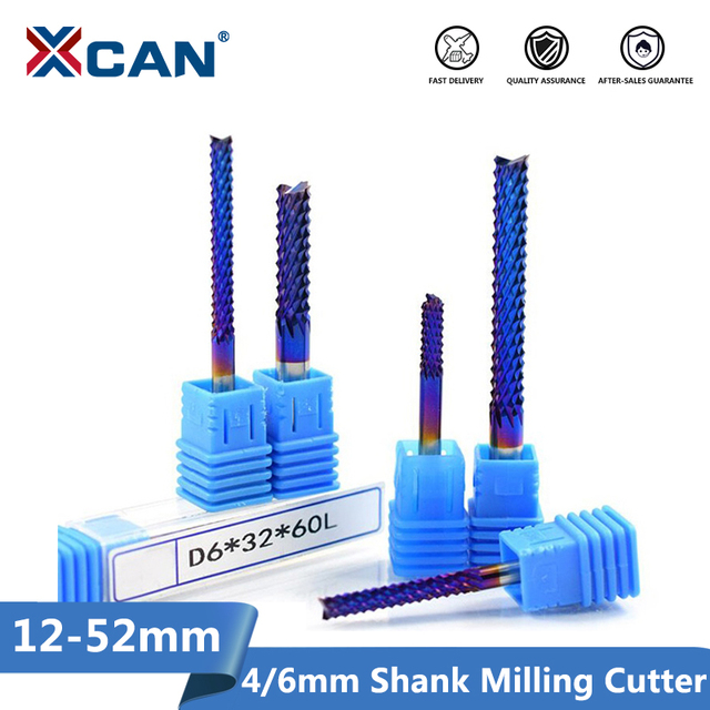 XCAN 1pc 4mm/6mm Shank Tungsten Carbide End Milling Bit Nano Blue Coated End Mill for Engraving Machine PCB Milling Cutter