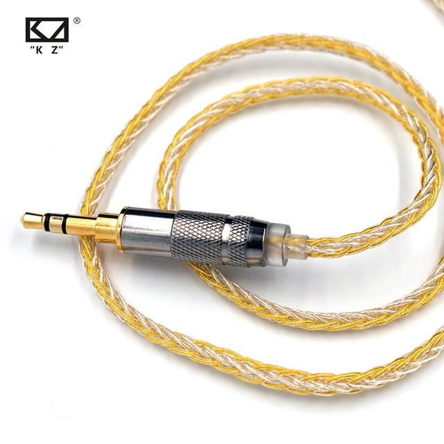 Câble mixte KZ 8 cœurs or argent avec connecteur 2pin/Mmcx utilisé pour KZ ZS10 PRO/ ZSN/ZST/ES4/ZS10/AS10/BA10/ZSN PRO