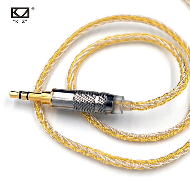 Kz 8 núcleo ouro prata misturado cabo com 2pin/mmcx conector uso para kz zs10 pro/zsn/zst/es4/zs10/as10/ba10/zsn pro