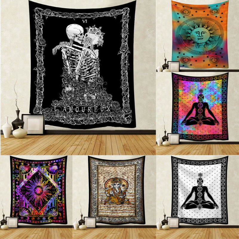 Sun Skull Tapestry Wall Hanging Polyester Mandala Hippie Gypsy Pattern Tapestry Home Decor New