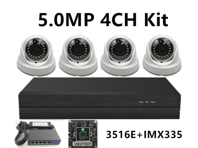 5.0MP 4.0MP 3.0MP 2.0MP 4CH IP izleme kiti IP kapalı tavan Dome kamera 48V PoE anahtarı NVR CMS XMEYE P2P bulut plastik