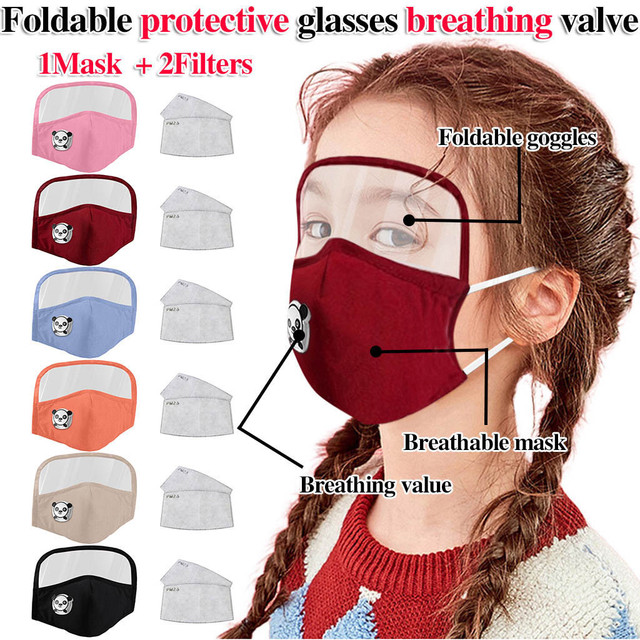 Protective face mask with eye protector + 2 filters for children