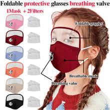 Dziecko pyłoszczelna zewnętrzna maska ochronna na twarz z osłoną oczu + 2 filtry Mascarillas na twarz przebranie na karnawał akcesoria tanie tanio Maski Unisex Dzieci Kostiumy COTTON
