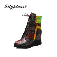 British autumn and winter thick-soled motorcycle boots net red space leather boots in the high to help Martin boots women the spring and autumn martin boots high heeled boots tide thick soled boot female british style lace up shoes boots big shoes