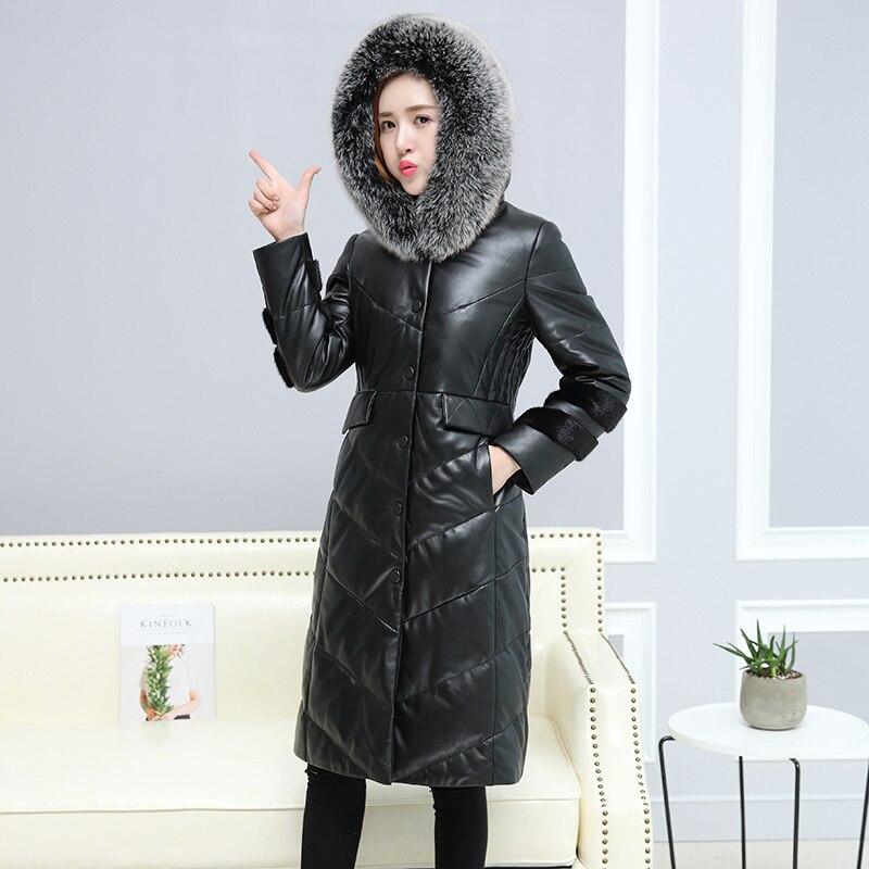 Jacket Leather Genuine Women 2020 Natural Sheepskin Coat Long Winter Down Coats Real Fox Fur Hooded Plus Size 6XL 1661-2 S