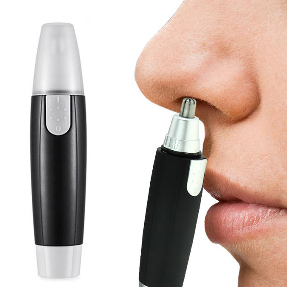 1 Pc Black Electric Nose Ear Hair Trimmer For Men Women Painless Trimming Water Resistant Edge Blades