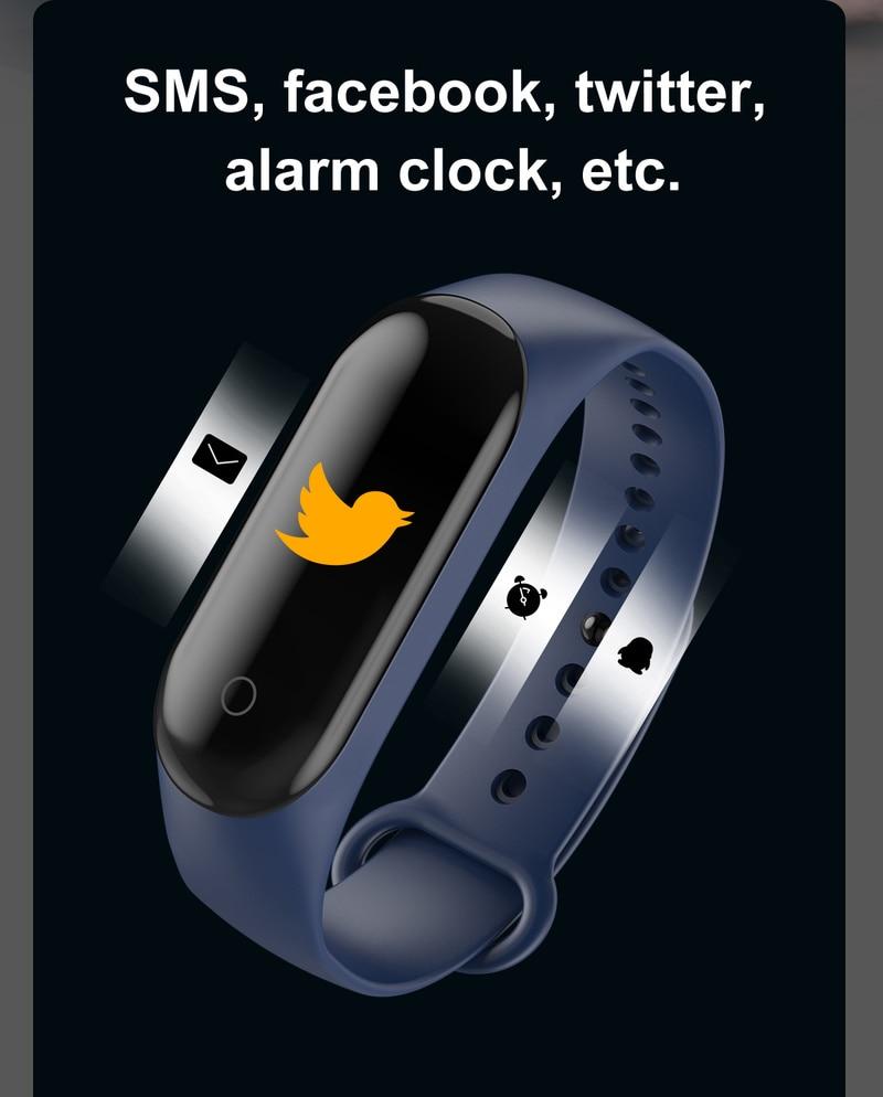 2020 Sport Running Pedometer M4 Smart Wristband Heart Rate Waterproof Touch Screen Bluetooth Fitness Tracker Pedometer 2