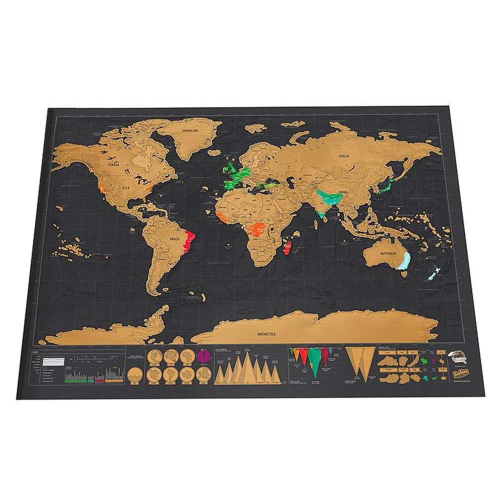 Luxury Black Decoration World Map Personalized Travel Scratch Wall Sticker Home Decoration Map Including Wrapping Paper Tube