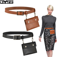 New Long skirt Trousers Lady Waist PU leather Belt Purse Decoration Women Fashion Versatile Clothing Accessories Bag