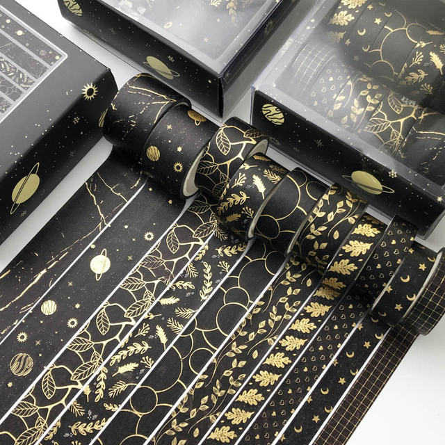 10 Pcs/Set Black Gold Washi Tape Vintage Galaxy Masking Tape Cute Decorative Adhesive Tape Sticker Scrapbooking Diary Stationery