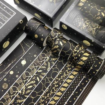 10 sztuk zestaw czarne złoto taśma Washi Vintage Galaxy taśma maskująca śliczne dekoracyjne taśma klejąca naklejki Scrapbooking pamiętnik piśmienne tanie i dobre opinie CN (pochodzenie) Washi Tape Set TAŚMA MASKUJĄCA Gold Foil Washi Tape Vintage Plant Masking Tape Decorative Adhesive Tape