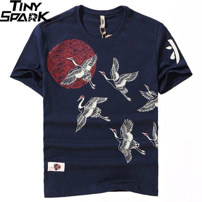 2019 Japanese Streetwear T Shirt Crane Sun Print Mens Harajuku T-Shirt Summer Hip Hop Tshirt Cotton Short Sleeve Tops Tees Black