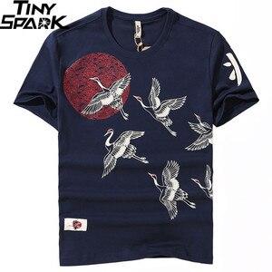 Image 1 - T Shirt japonais en coton imprimé grue au soleil pour homme, style Hip Hop, Harajuku, à manches courtes, collection de 2019