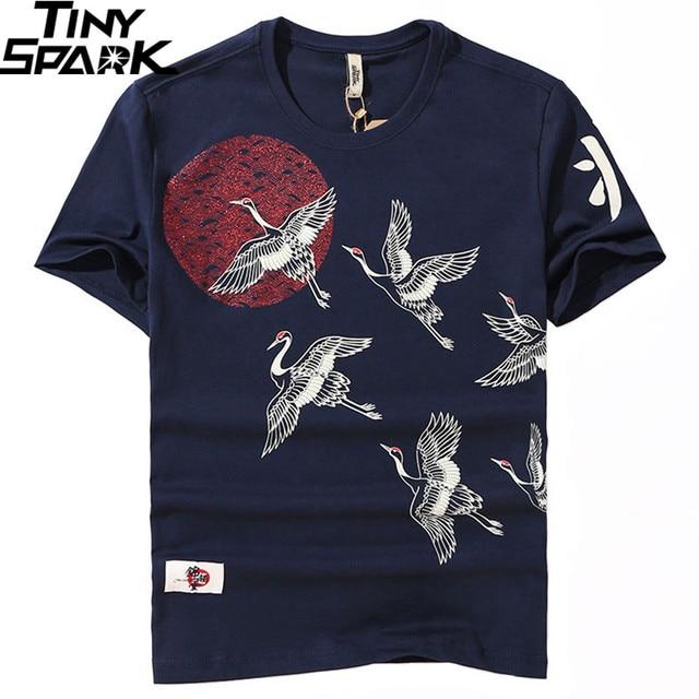 T Shirt japonais en coton imprimé grue au soleil pour homme, style Hip Hop, Harajuku, à manches courtes, collection de 2019