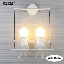 크리 에이 티브 E27 현대 LED 벽 램프 탑재 된 철 5W 10W Sconce 벽 빛 침실 복도 벽 빛 lampara pared
