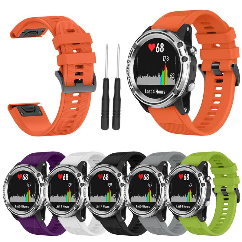 Colorful 26mm Width Outdoor Sport Silicone wrist Strap Watchband Replacement bracelte watch For Garmin Fenix 3/3HR/5X/5X Plus