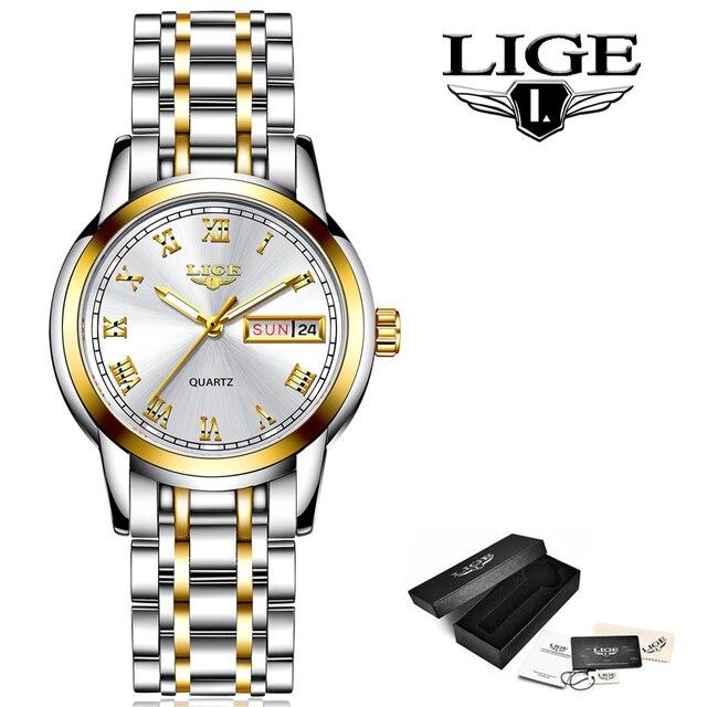 LIGE 2020 New Gold Watch Women Watches Ladies Creative Steel Women's Bracelet Watches Female Waterproof Clock Relogio Feminino 6