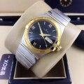 Элитный бренд новый Для мужчин серебристый, черный белый автоматические механические Нержавеющаясталь часы с сапфирами желтого золота ро...