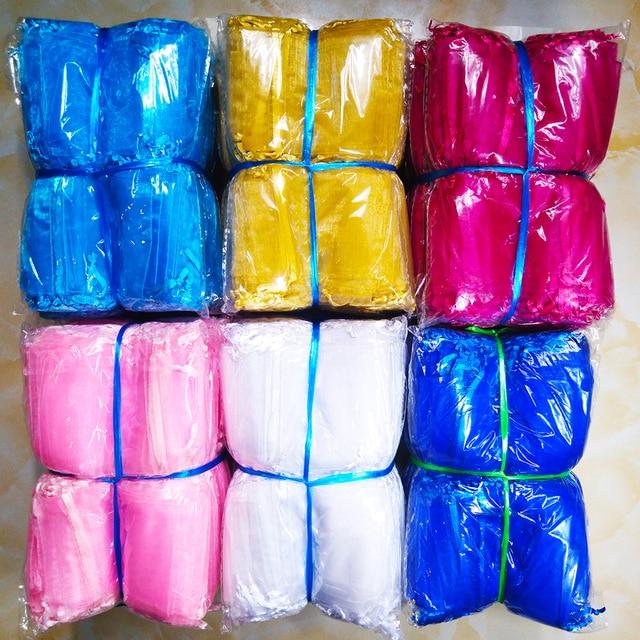 1000 stks/partij 24 Kleuren Sieraden Bag 7x9 9X12 10x15 13x18cm Bruiloft gift Organza Tassen Sieraden Verpakking & Display Sieraden Pouches