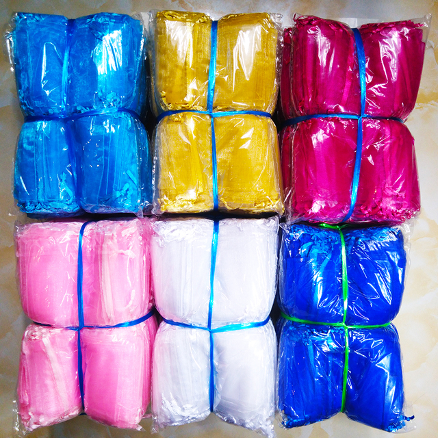 1000pcs/lot 24 Colors Jewelry Bag 7x9 9X12 10x15 13x18cm Wedding Gift Organza Bags Jewelry Packaging & Display  Jewelry Pouches