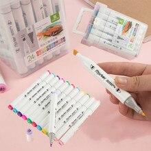 12 18 24 36 renk belirteçleri Manga çizim işaretleyici kalem alkol bazlı kroki yağlı çift fırça kalem sanat malzemeleri