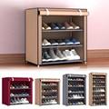 Многослойная полка для обуви, органайзер из ткани, шкаф для обуви, органайзер с дверцей, съемный пылезащитный нетканый шкаф для хранения обу...