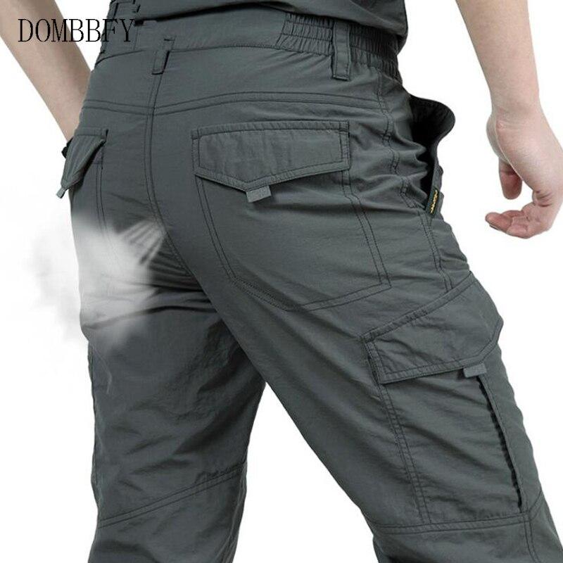 Summer Men Quick Dry Breathable Waterproof Cargo Pants Men's Outdoor Mountain Camping Trekking Pants Elastic Waist Trousers 4XL